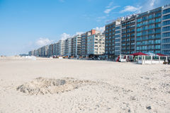 Architecture in Koksijde from the beach of the North Sea.  Stock Photos
