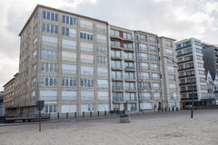 Architecture in Koksijde from the beach of the North Sea.  Stock Photography