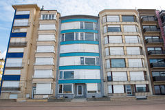 Architecture in Koksijde - Houses on the promenade.  Royalty Free Stock Images