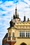 Architecture of Krakow, Poland, Bazylika Mariacka. Elements of the buildings of the Bazylika Mariacka and the Sukiennice in the main market square of Krakow Stock Photo