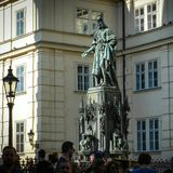 Architectural monuments. Architecture and landmark of Prague, postcard of Prague. Bronze Statue of the eleventh King of Czech and Roman Emperor Charles IV. in Royalty Free Stock Photography