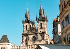 Architectural monuments. Architecture and landmark of Prague, postcard of Prague. Prague Old Town Square and Church of Mother of God Stock Images