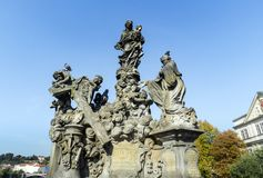 Architectural monuments. Architecture and landmark of Prague, postcard of Prague. Statues of Madonna and Saint Bernard, outdoor sculptures on the north side of Stock Photo