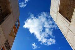Salk Building under blue sky. The architecture landmark Salk Insititute cement building under the blue sky at La Jolla, San Diego royalty free stock photo