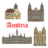 Architecture landmarks of Austria vector icons. Austria landmarks and famous architecture buildings. Vector icons and facades of Wiener Rathaus town hall, Mel Royalty Free Stock Images