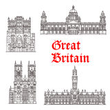 Architecture landmarks of Great Britain vector. Great Britain architecture and British famous landmark buildings. Vector isolated icons and facades of Stock Image