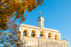 Architecture landscape-belfry of Saint Sophia Cathedral in Veliky Novgorod, Russia Stock Images