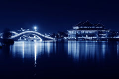 Architecture landscape at night in a park Stock Photography