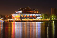 Architecture landscape at night in a park. FENGNAN - MAY 11: Architecture landscape at night in a park in a park in HuiFeng Lake Park on May 11, 2013, Fengnan Stock Photos