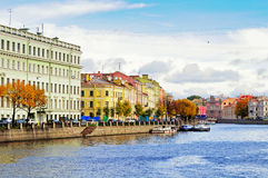 Architecture landscape of old historic buildings along the embankment of Fontanka river in St Petersburg, Russia Stock Images