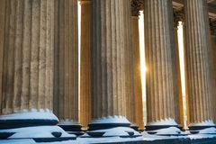 Colonnade with sunset light of Kazan Cathedral in Saint Petersburg, Russia stock image