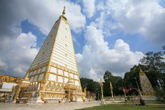 Architecture landscape of white and gold pagoda. Ornament: architecture landscape of white and gold pagoda at wat Phrathat Nong Bua in Ubon Ratchathani province Royalty Free Stock Photography