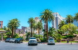 Architecture of Las Vegas. Casino and luxury hotels. Tourist trip to the USA. Las Vegas, Nevada, USA - June 18, 2017: Treasure Island Hotel and Casino and Grand Royalty Free Stock Images