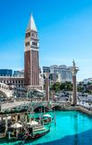 Architecture of Las Vegas. Grand Canal Shoppes at The Venetian and Treasure Island, Luxurious casino and hotel royalty free stock image