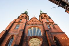 Architecture in Legnica. Poland. LEGNICA, POLAND - JUN 16, 2014: St Paul and Petr cathedral in Legnica in Poland. Legnica is a former capital of the the Legnica stock photography