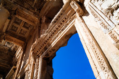 Architecture of Library of Celsus in Ephesus Royalty Free Stock Image