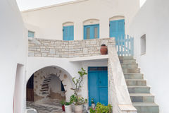Architecture of local village Marpissa at Paros island in Greece. Royalty Free Stock Photos