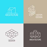Architecture logos. Vector set of logo design templates in simple trendy linear style for architecture studios, interior and environmental designers - mono line Royalty Free Stock Photos