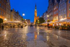 Architecture of the Long Lane in Gdansk at night. Stock Photo