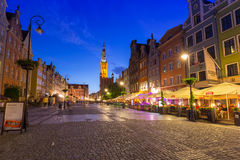Architecture of the Long Lane in Gdansk at night Stock Image