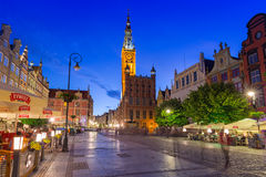 Architecture of the Long Lane in Gdansk at night Royalty Free Stock Photography
