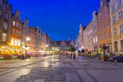 Architecture of the Long Lane in Gdansk at night Royalty Free Stock Images