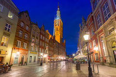 Architecture of the Long Lane in Gdansk at night Royalty Free Stock Image