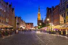 Architecture of the Long Lane in Gdansk at night Royalty Free Stock Photos