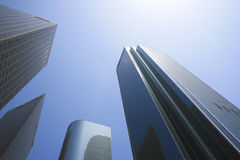 Architecture Los Angeles. Abstract highrise architecture in Downtown Los Angeles, California Royalty Free Stock Photo