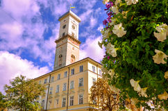 Architecture. Of Lviv city tower Royalty Free Stock Photo