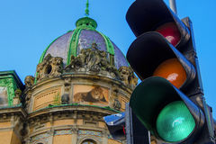 Architecture. Of Lviv city traffic lights Stock Image