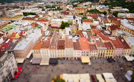 Architecture of Lviv. Ukraine. Lviv bird's-eye view of from of the City Hall, Ukraine Royalty Free Stock Photos
