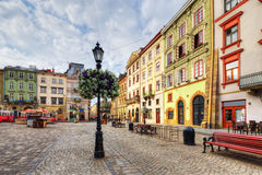 Architecture of Lviv. Ukraine. The corner of Rynok Square and view of Latin Cathedral in Lviv, Ukraine Stock Images