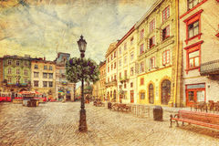 Architecture of Lvov. Ukraine. Picture in artistic retro style Stock Photography
