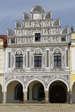 Telc, Czech Republic. Architecture in the main square of the historical town of Telc in southern Moravia Royalty Free Stock Photos
