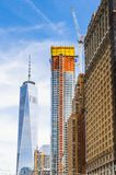 Architecture of Manhattan, New York, USA. NEW YORK, USA - SEP 22, 2015: Architecture of the Lower Manhattan (Downtown). Downtown was originated at the southern stock photo