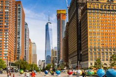 Architecture of Manhattan, New York, USA. NEW YORK, USA - SEP 22, 2015: Skyscapers of the of the Lower Manhattan (Downtown). Downtown was originated at the royalty free stock photos