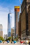 Architecture of Manhattan, New York, USA. NEW YORK, USA - SEP 22, 2015: Skyscapers of the of the Lower Manhattan (Downtown). Downtown was originated at the royalty free stock photography