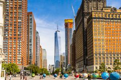 Architecture of Manhattan, New York, USA. NEW YORK, USA - SEP 22, 2015: Skyscapers of the of the Lower Manhattan (Downtown). Downtown was originated at the royalty free stock image