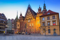 Architecture of the Market Square in Wroclaw at dusk Royalty Free Stock Photo