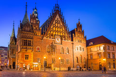 Architecture of the Market Square in Wroclaw at dusk Royalty Free Stock Images