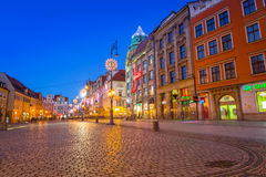 Architecture of the Market Square in Wroclaw at dusk, Poland Stock Photo
