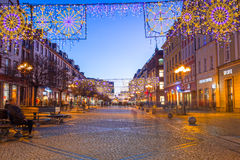 Architecture of the Market Square in Wroclaw at dusk, Poland Royalty Free Stock Image
