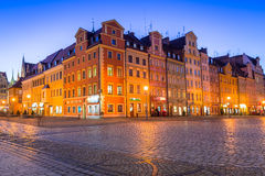 Architecture of the Market Square in Wroclaw at dusk, Poland Royalty Free Stock Photography