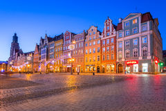 Architecture of the Market Square in Wroclaw at dusk, Poland Royalty Free Stock Photo