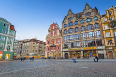 Architecture of the Market Square in Wroclaw at dusk, Poland Royalty Free Stock Photos