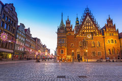 Architecture of the Market Square in Wroclaw at dusk, Poland Stock Image
