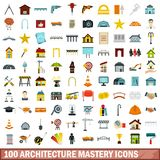 100 architecture mastery icons set, flat style. 100 architecture mastery icons set in flat style for any design vector illustration vector illustration