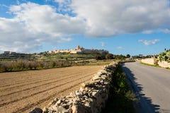 Architecture of Mdina on Malta. Beautiful sandstone architecture cistyscape of Mdina silent city on Malta island. Beautiful landscape in south Europe Stock Image