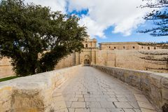 Architecture of Mdina on Malta. Beautiful sandstone architecture cistyscape of Mdina silent city on Malta island. Beautiful landscape in south Europe Royalty Free Stock Image